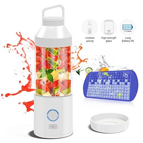 N NEWKOIN Frullatore portatile, mini spremiagrumi Frullatore di frutta Sport bottiglia di vetro frullatore personale portatile, interfaccia USB e ricaricabile, lama in acciaio inox 304, 450ml, bianco