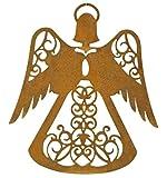 Metallmichl Edelrost Engel ELSA zum Hängen Höhe 15 cm, Filigran bearbeiter Himmelsbote aus rost Metall, Fensterdeko