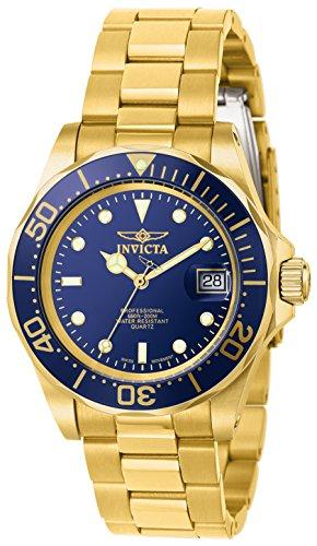 Invicta Men's Pro Diver 40mm Gold-Tone Steel Bracelet & Case Quartz Blue Dial Analog Watch 9312