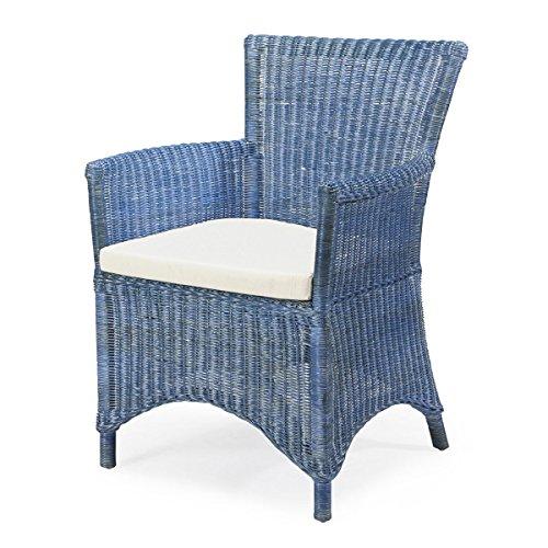 Rotin Design REBAJAS : -27% Sillon de ratan de comedor o de salon Rosas azul, moderno y barato
