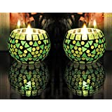 Set Of 2 Mosaic Candle Holder Decorative Glass Tea Light Candle 3 Inch
