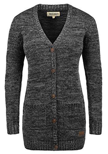 DESIRES Philemona Damen Cardigan Strickjacke Grobstrick V-Ausschnitt mit Knopfleiste aus 100% Baumwolle Meliert, Größe:XL, Farbe:Black (9000)