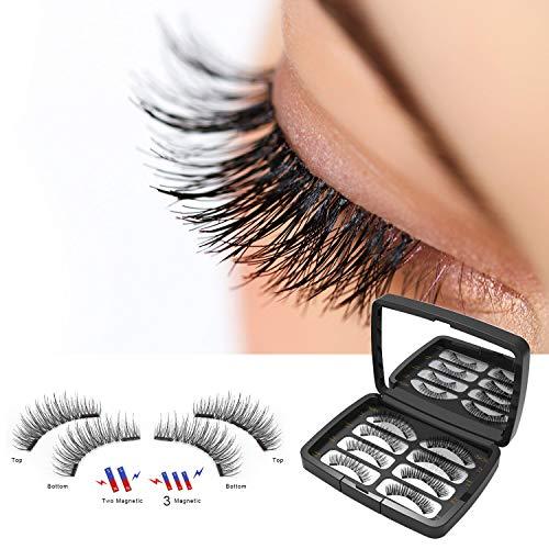 Magnetische Wimpern, Wiederverwendbare 3D Wimpern Set, Künstliche Wimpern mit 3 Magneten, Dual Magneten Magnetic False Eyelashes + Edelstahl Pinzette