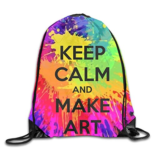 Drempad Coulisse Sacchetto,Zaino Coulisse Sacchetto, Drawstring Bag Bundle Backpack Cinch Sacks Bulk Sackpack Keep Calm And Make Art Home School Hiking Travel Bag