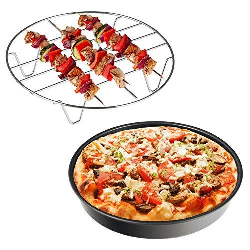 Balter Heißluftfritteuse XXL oder XXXL Zubehörset Pizzaform Antihaft Grillrost Edelstahl Antrazit