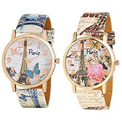 Shivam Fancy Round Dial And Bracelet Leather Straps Analog Watch For Girls & Womens, Pack Of 2