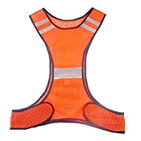 Janlyy High Visibility Safety Vest Reflective Jacket Running Gear Safety Vest for Running Cycling Walking Jogging Biking Motorcycling Dog Walking Yellow Orange