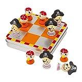 Tic Tac Toe Piraten, Metallbox mit magnetischen Spielsteinen aus Holz, schult die Logik und vertreibt die Langeweile, ideal zum Mitnehmen und auf Reisen, spaßiges Strategiespiel für Kinder ab 5 Jahren