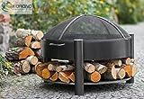 korono Brasero 60cm avec 2poignées rangement pour bois et Pare-étincelles |...