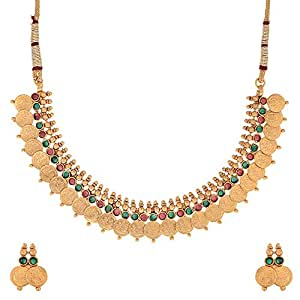 Zeneme Red & Green Traditional Temple Coin Necklace Set/Jewellery Set with Earrings for Women