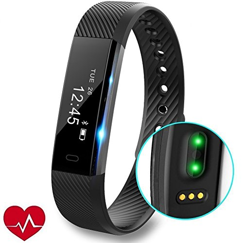 fitness tracker orologio con cardiofrequenzimetro, slim touch screen e polsini, indossabile impermeabile activity tracker contapassi per android e ios, black