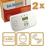 HEIMAN Co Melder Kohlenmonoxidmelder Kohlenmonoxid-Warner Detektor mit elektrochemischen Sensor und LCD-Display - weiß - 2er-Set