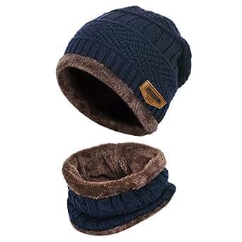 Vbiger Cappello Uomo invernale Berretto Uomo in Maglia con sciarpa (Blu-nuovo)