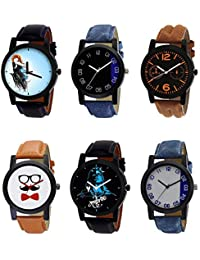 NIKOLA Brand New Analogue Mahadev Beard Style Black Blue And Brown Color 6 Watch Combo (B22-B37-B18-B53-B23-B40...
