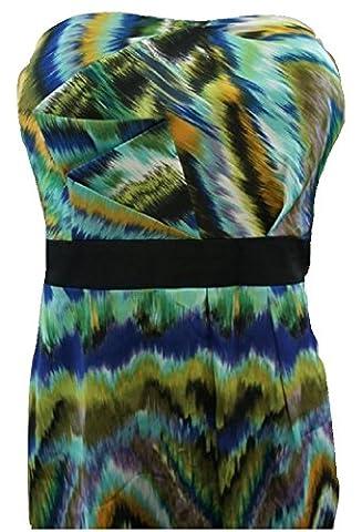 Max & Cleo - Robe - - Uni - Sans manche Femme Bleu Green / Blue Print