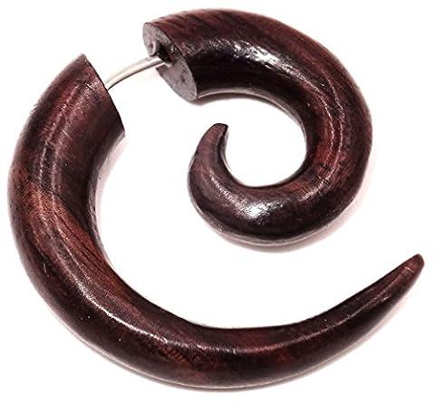 Faux Ecarteur Boucle d'oreille Piercing Bois Ethnique Gauge Expander Wood Wooden Fake Spirale spiral tourbillon