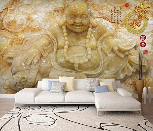 Fototapete 3D Effekt Tapeten Jade, Die Jade Buddha-Mönch Buddha-Statue Schnitzt Wandtapete Wandbild Wand Dekoration (Jade-statue Groß)
