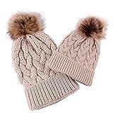 SHOBDW Baby halten warme Wintermützen gestrickte Wolle Hut Mädchen Elegant Einfarbig mit Strickmütze mit Pompon Mütze Strickmütze für Kinder