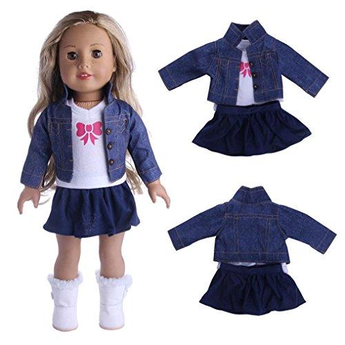 Für 18 Zoll Unsere Generation American Girl Doll, Omiky® LovelyFancy Jeans Hemd Plissee Kleid Dreiteiliger Anzug (A) (18-zoll-puppe-handy)