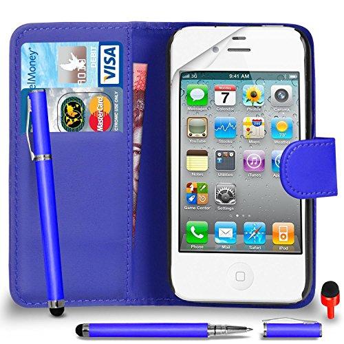 Apple iPhone 4 / 4S Pack 1, 2, 3, 5, 10 Protecteur d'écran & Chiffon SVL6 PAR SHUKAN®, (PACK 10) Portefeuille BLEU