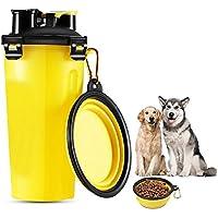 niceEshop Botella para Perro, (TM) 700ml Botella de Recipiente de Comida y Agua con Recipiente Plegable para Perros, Gatos y Otros Animales Domésticos,Amarillo