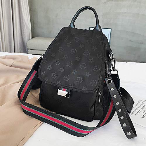 LFGCL Bags womenPrinted Schultertasche Ladies Oxford Bag Wide Ribbon umhängetasche Reisetasche, schwarz