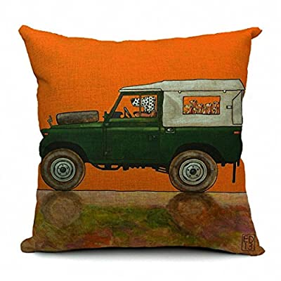 PopPhoto® 18 X 18 Inches Thick Retro Cotton and Linen Throw Pillow Cover Cushion Cover Car Cushion Pillow Case, Driving Dog