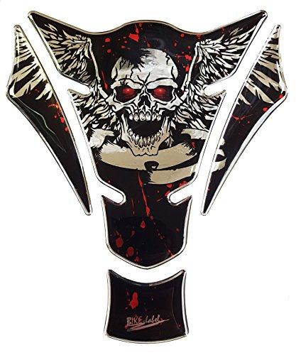 Tankpad 3D 501085 Blood Skull Chrom - universeller Tank-Schutz passend für Motorrad-Tanks