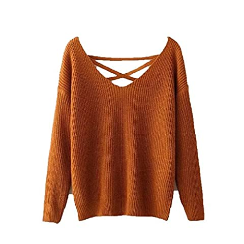 CHLXI Sweater Ladies Fashion Beautiful,Brown-M