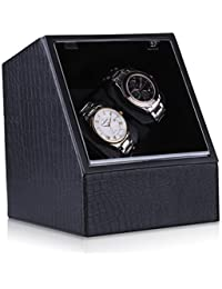 CRITIRON Luxury 2 Automatic Watch Winder PU Leather 4 Rotation Modes Storage Display Case Black
