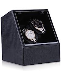 CRITIRON Luxury 2 Automatic Watch Winder PU Leather 4 Rotation Modes Storage Display Case Black