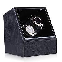 CRITIRON Dual Automatic Watch Winder Double Watch Rotator Rectangle Watch Storage Box
