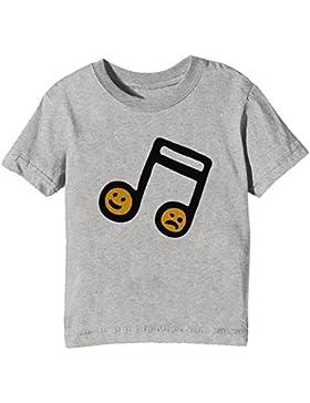 Música Notas Niños Unisexo Niño Niña Camiseta Cuello Redondo Gris Manga Corta Todos Los Tamaños Kids Unisex Boys...