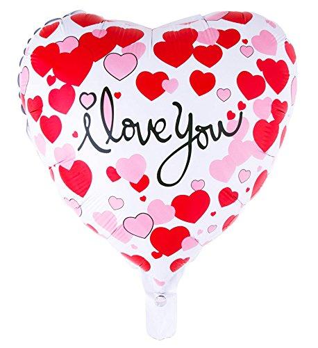 Folienballon rot weißes Herz 52 cm x 46cm mit der Aufschrift:i love you (ich Liebe Dich)