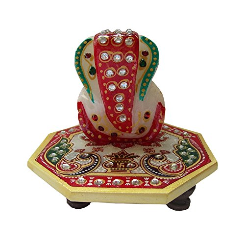 Mirracrafts Beautiful Hand Painted Marble Ganesh Chowki In Red With Peacock Design And Kundan Works  available at amazon for Rs.250