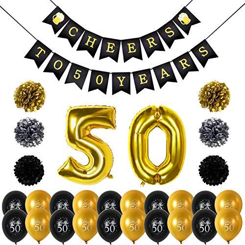 ag deko, Cheers zum 50. Geburtstag Girlande, Große 50 Jahre Folienballons, Papierblumen, Pom Poms, 20Stk schwarz und Gold Latex Luftballons Dekoration für 50 Geburtstagsfeier ()