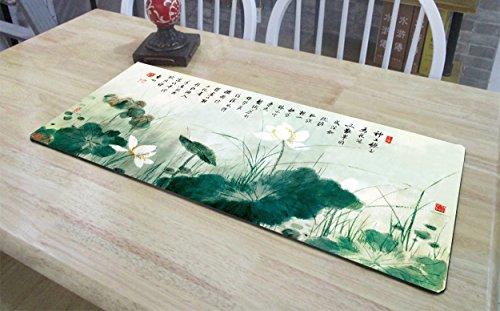 Haofengjing Mauspad Chinesischer Stil Kalligraphie Malerei Lotus Karte Groß Mauspad Tischset Häkeln, Lotus Map 40X90 -