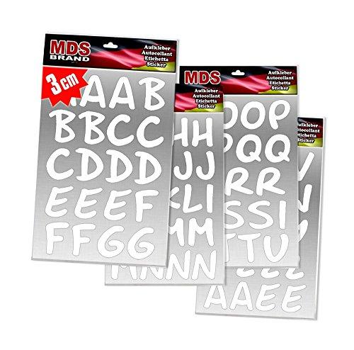 MDS Brand 3cm Buchstaben Schreibschrift Basteln & Aufkleber für Fotobuch beschriften (Weiss)