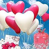 35 HELIUM Herzluftballons Hochzeit pink/weiss - KOMPLETTSET aus weißen&pink HERZ Heliumballons, Helium Einwegflasche, Ballonkarten und Ballonschnur zum Luftballons steigen lassen zur Hochzeit - Hochzeitsspiele und Partyspiele