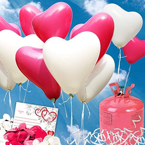 (galleryy.net 35x Herzballons pink/weiß Ø30cm + Helium Ballongas 50x Ballonflugkarten Premium Ballons vom Luftballonprofi & Deutschen Heliumballon Experten)
