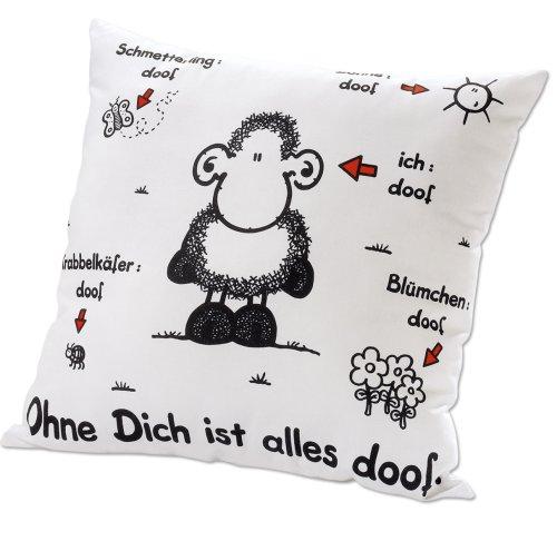 Sheepworld 40157 Baumwoll-Kissen mit Motiv Ohne Dich ist alles doof, Geschenk-Kissen, 40 cm x 40 cm, weiß