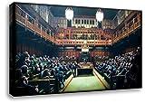 Kunstbruder Kunstdruck auf Leinwand/Banksy Graffiti - Monkey Parliament - Bild fertig auf Keilrahmen/Wandbild Dekoration Leinwand Wohnzimmerbild Bürobild (50x80cm)