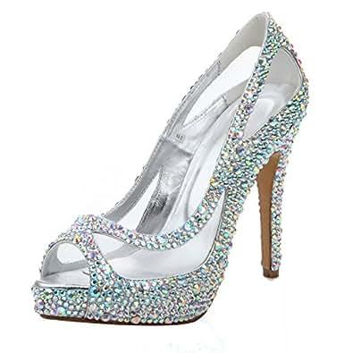 À Dressy Chaussures L yc Toe Cristal Talons Transparent Hauts 4cS4EqUYw
