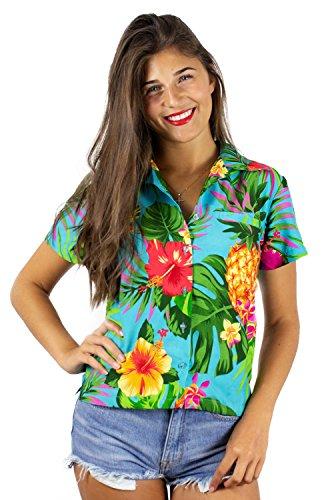 King Kameha Funky Hawaiihemd Hawaiibluse, Kurzarm, Ananas, Türkis, 6XL -