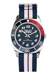Trendy Junior - KL 352 - Montre Garçon - Quartz Analogique - Cadran Bleu - Bracelet Nylon Multicolore