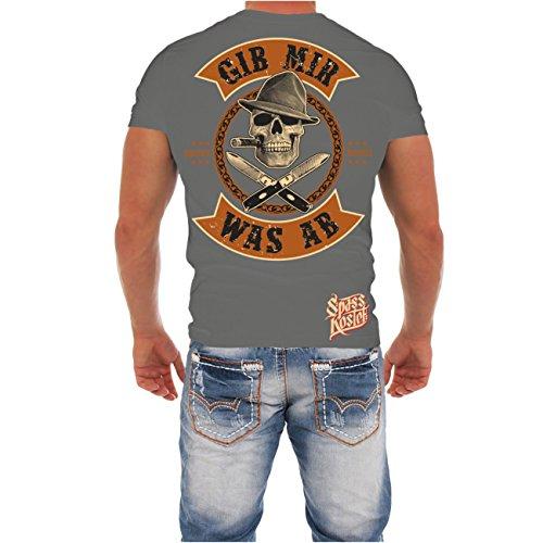 Männer und Herren T-Shirt Spass kostet Gib mir was ab (mit Rückendruck) Aschgrau