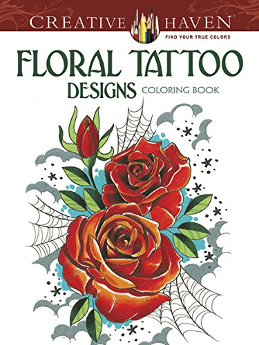 Floral tattoo designs adult coloring book