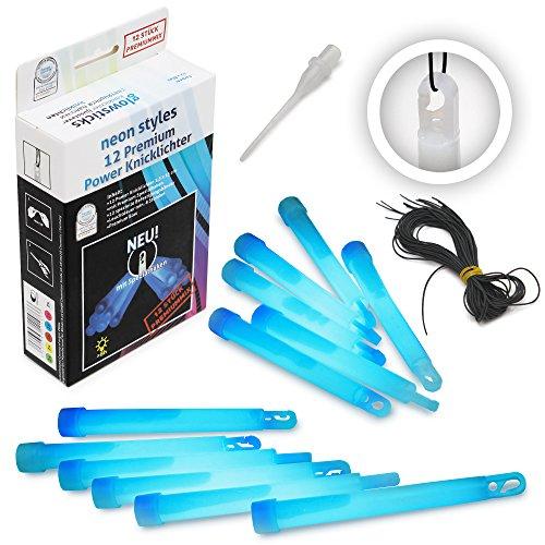 12 Premium Power-Knicklichter KNIXS - Blau - inkl. Spezialhaken und Befestigungsband, robust, dick, intensiv & lange leuchtend