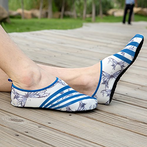 ROMANTIC BEAR Women Men Quick Dry Aqua Shoes Sports Water Socks with Holey Ventilation Pool A1:Blue Stripes