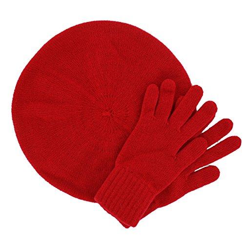 ScotlandShop - Ensemble bonnet, écharpe et gants - Femme Rouge